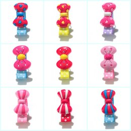 Retail Hair Clips NZ - Retail 20pcs+ Pink Bownot Cartoon Cloth Wrapped Hairpins Girls' Headwear Hair Accessories PVC+Clips Kid Gift Party Favors Hair Jewelry