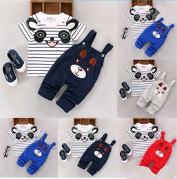 $enCountryForm.capitalKeyWord NZ - Cartoon toddler baby infant boys outfits T-shirt+bib pants kids clothes 2pcs set summer baby cotton striped panda printing clothes outfits