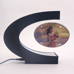 Shape photo frameS online shopping - C Shape Electronic Magnetic Levitation Floating Photo Frame with LED Lights Novelty Gift Home Decoration Pictures Frames