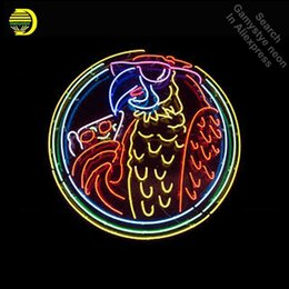 China Bird pizza neon parrot NEON LIGHT SIGN Sign REAL GLASS Tube BEER BAR PUB Light Store Display Handcraft Iconic cheap parrot display suppliers