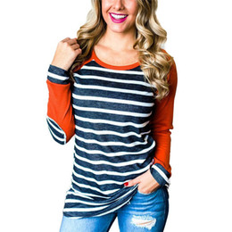 $enCountryForm.capitalKeyWord NZ - Women Casual Long Sleeve T Shirt Baseball Fashion Striped Patchwork O-Neck Top Spring 2019 Cotton Pullover Elbow Patch Plus Size