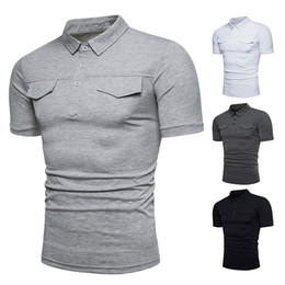 86198148d2 Roupa de marca quente dos homens novos de lapela bolso design de manga  curta POLO camisa cor sólida camisa casual