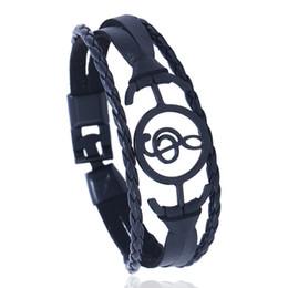 Discount music man - Music Leaf Hamsa Hand design Cuff Bangle Fashion Handnade Weave Men Women Pu leather Bracelets Men Male Female Gift Jewe