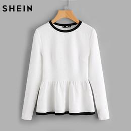 6a59d080eeb3ee SHEIN Contrast Bindung Strukturiertes Peplum Shirt Weiß Damen Oberteile  Blusen Herbst Langarm Elegant Herbst 2017 Fashion Bluse