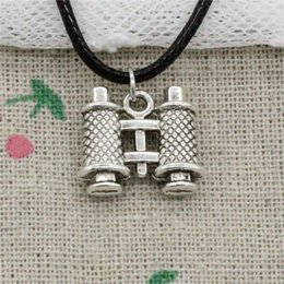 Double Chain Pendants NZ - Creative Fashion Antique Silver Pendant double sided telescope 14*15*3mm Necklace Choker Charm Black Leather Cord Handmade Jewlery