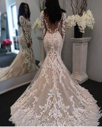 Wholesale 2019 Mermaid Wedding Dresses with Long Sleeves Lace Applique Tulle Wedding Gowns See Through Buttons Back Bridal Dresses China