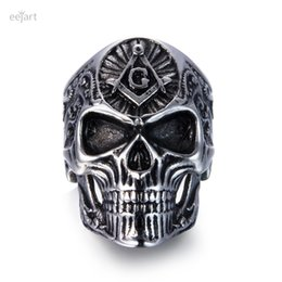 $enCountryForm.capitalKeyWord Australia - eejart Stainless Steel Masonic skull rings Men's High Quality Personality Punk Ring