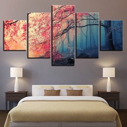 $enCountryForm.capitalKeyWord NZ - 5 Panels Red Trees Forest Cherry Blossoms Paintings Canvas Oil Painting Print Wall Art Decor for Living Room Home Decoration Framed Unframed