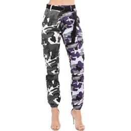 Plus Size Camouflage Jeans NZ - Winter Contrast Color Camouflage Print Buttons Denim Trousers Casual Women Full Length With Pockets Harem Jeans Pant Plus Size