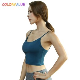 625111bdad4fc Colorvalue Spaghetti Strap Fitness Gym Crop Top Women Push Up Padded Sport  Bra Quick Dry Vest-Type Exercise Athletic Brassiere