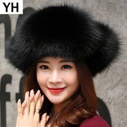 d1f42b058f169 Russia 2018 Natural Real Fox Fur Hat Winter Warm Women 100% Real Fox Fur Cap  Quality Caps Bomber Hats