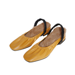 Back Hair Men Australia - New fashion women shoes slippers genuine leather thick high heels comfortable rabbit hair lining back with women's shoes