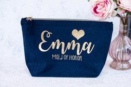 unique bags for school Canada - Personalize navy blue bride makeup pouches bridesmaid wedding Gift Make Up Cosmetic Bags Unique Gift for Bridal Party Bags