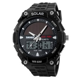 China 2018 New Solar Power Watch SKMEI Brand Men Sports Watches 2 Time Zone Digital Quartz Multifunctional Outdoor Dress Wristwatches cheap quartz solar powered dressing watches suppliers