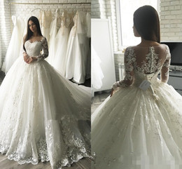 muslim wedding gowns dubai 2020 - 2019 Luxury Lace Applique Long Sleeve Princess Wedding Dresses Cathedral Train Elegant Dubai Arabic Muslim A-line Weddin