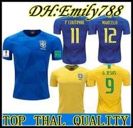 World Cup 2018 Coutinho Gesus Firmino Soccer Jerseys MARCELO Brazil Futbol  Camisa Brasil Football Camisetas Shirt Kit Maillot e28f92f77