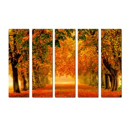 large floral canvas art UK - Large 5 Panel Modern Wall Art Picture Golden autumn Maple Fallen Leaves Landscape Print painting On Canvas for Living Room Home Decor SetB14