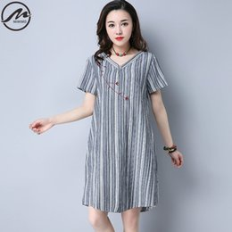 05963e83b6 MIWIMD Plus Size Women Summer Dresses 2017 New Fashion Vintage Striped  Embroidered Loose Short Sleeve Cotton Linen Casual Dress