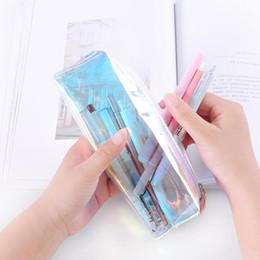$enCountryForm.capitalKeyWord Canada - Cool laser transparent color pencil bag Fresh art stationery storage bag Cosmetic bag tassel pencil case