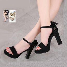 b63e84d676ca Concise Sweet Bowtie Women Chunky Heel Platform Peep Toe Shoes Black Khaki  10cm 2018