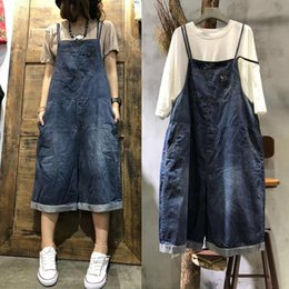 High Quality Jumpsuits Australia - Free Shipping 2018 New Fashion Women Wide Leg Loose Jumpsuits And Rompers With Pockets Half Length High Quality Overalls Jeans