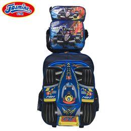 Boys School Cars Bags Canada - JASMINESTAR 3PCS Boys Wheeled Bag School Trolley Backpack 3D Cartoon Rocket Race Car Grade 1-3-6 Kids School Bags For Boy