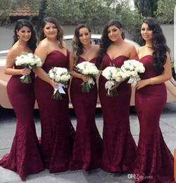 Customized embroidery online shopping - Burgundy Lace Mermaid Long Bridesmaid Dresses Wine Maid of Honor Wedding Guest Dress Prom Party Gowns