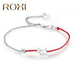 Discount letter k bracelet - ROXI Crystal Charm Bracelets for Women Thin Red Thread String Rope Fashion Lovely Dog Bracelet Bangles K Letter Jewelry