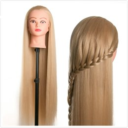 Training hairdressing mannequin online shopping - 80cm hair female mannequin head hairstyles Hairdressing Styling Training head for hairdressers dolls