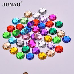 Clear sCrapbook online shopping - JUNAO mm Sewing Acrylic Crystals Flat Back Round Rhinestones Clear AB Crystal Stones Sew On Scrapbook Beads For DIY Dress Bag