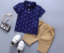 Floral Print Shirts Baby Australia - Baby boys summer clothing Set Kids Suit Outfits short sleeve cotton Floral print tops T shirts+Kids shorts Children clothing kids sets
