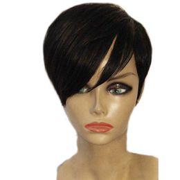 Perruque de cheveux avant de lacet humain Pixie pour les femmes noires sans colle perruque courte Bob Capless avec cheveux de bébé en Solde