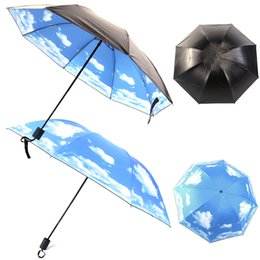 Nylon Coating Australia - Hot Sell Black Coating Anti UV Sun Protection Umbrella Sky Parasol Umbrella Creative Blue sky White Cloud Vinyl