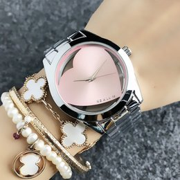 Gold heart shaped Glasses online shopping - Fashion style Brand women s Girl Heart shaped Hollow dial style Metal steel band Quartz wrist Watch With logo M60