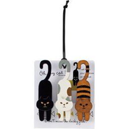 Wooden Stationery NZ - 1set( 3 pcs) Kawaii Stationery Mini Natural Painted oh my cat Wood Clip Set   Cute Wooden Paper Clips   Small Craft Photo Pegs