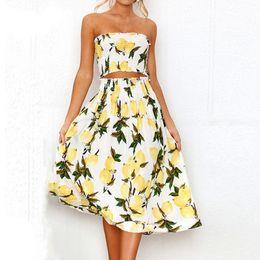 a5632230f10 Boho Lemon Sunflower Print Dress Women Summer Beach Sexy Strapless Two  Pieces Wrap Tops Long Dress Pleated White Vestidos S-XL