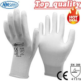 Nylon Coating Australia - NMSafety 13 gauge nylon PU coated nylon work glove Nylon knitted PU Palm Coated work PU glove D18110705