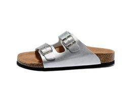 830ed39d1acd74 Men and Women Slide Sandal Buckle Slip On Slippers Comfort Cork Footbed  Women s Gizeh Cork Thong Arizona Buckle leather silver Sandal