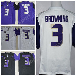 d2b9a5741 Jake Browning Jersey 3 Men NCAA Football College Washington Huskies Jerseys  University PAC 12 Stitched Color Purple White Black Size S-3XL
