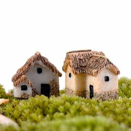 small house decoration Australia - 4Styles Small Houses Model Desktop Decoration Moss Terrarium Micro Landscape Succulent Ornament Fairy Garden Plant Pot Bonsai DIY Zakka