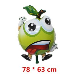 Plastic Fruit Green Apples NZ - New arrival baby emoji photo print fruit green apple large helium aluminum foil balloon toys for kids