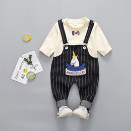 Wholesale round neck romper resale online – 2018 Fashion Spring Autumn Solid Color Round Neck Sweater and Striped Bib Romper two sets Children s Suit sizes a cm