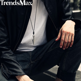 Discount 32inch chain - Men's Fashion Arrow Pendant Leather Necklace Stainless Steel Lava Bead 2018 Long Necklaces For Men 32inch Punk Jewel