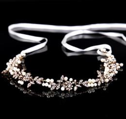 Silk White Rose Leaves Canada - Bridal Rhinestone headwear, retro flower leaves, wedding dress accessories, hair accessories, bridal ornaments