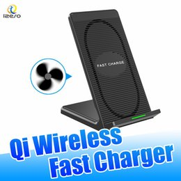 Discount phone retail packaging charger - For iPhone X 2 Coils Fast Wireless Charger High Speed Qi-enabled Charging Pad Phone Holder for Samsung Galaxy S9 Plus wi