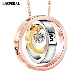 Discount personal pendants - LASPERAL Personal Customized Name Women Necklace Rose Gold Color Stainless Steel Blank Pendants Necklace Couples Lover G