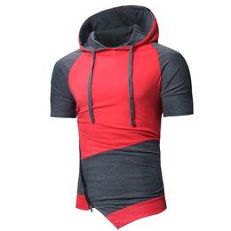 929320221f14 Hip-Hop Short Sleeve t Shirts Man Brand Cotton T-shirt Zipper Fashion  Irregular Tees for Men Hoodies Pullover New Style Free Shipping