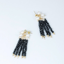 14k Gold Filled Pearl Australia - 14k Gold Filled Charm designer earrings jewelry fashion Handmade female quality pearl black pointed stone tassels earring china direct
