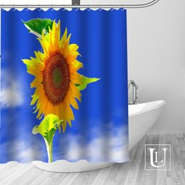 sunflower curtains 2019 - Custom sunflower Curtain Fabric Modern Shower Curtain bathroom beautiful Curtains Bath decor Polyester Cloth Waterproof