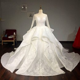 Discount gorgeous open back dresses - Gorgeous Ball Gown Wedding Dresses Sheer Neckline Layered Lace Wedding Dress Long Train Sexy Open Back Long Sleeves Brid